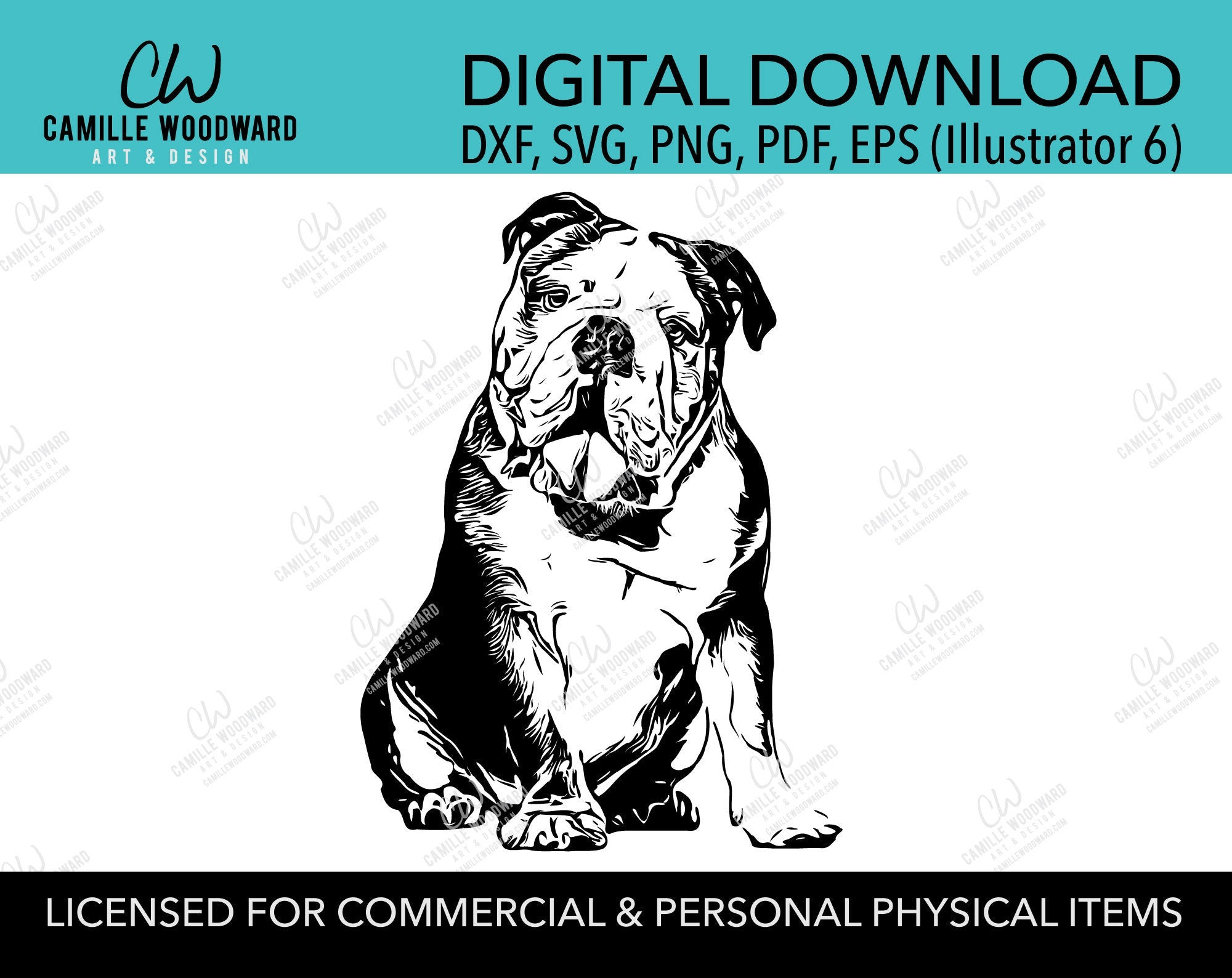 Bulldog Dog Clip Art SVG, Sitting English Bulldog Dog Clip Art, Wrinkle, Black & White Transparent - EPS, PNG Sublimation Digital Download