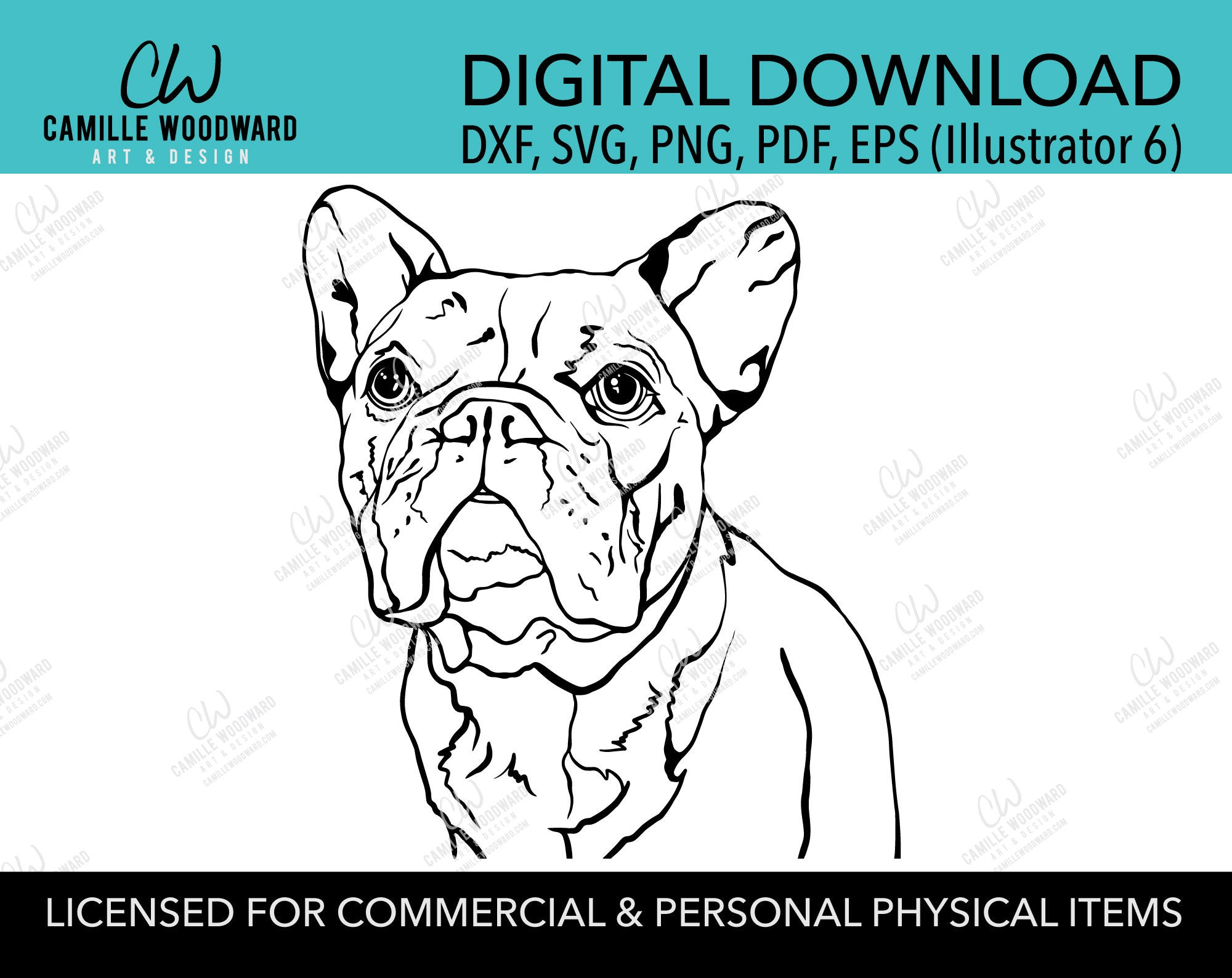 French Bulldog Dog Clip Art SVG, Bulldog Dog Clip Art, Wrinkle, Black & White Transparent - EPS, PNG Sublimation Digital Download