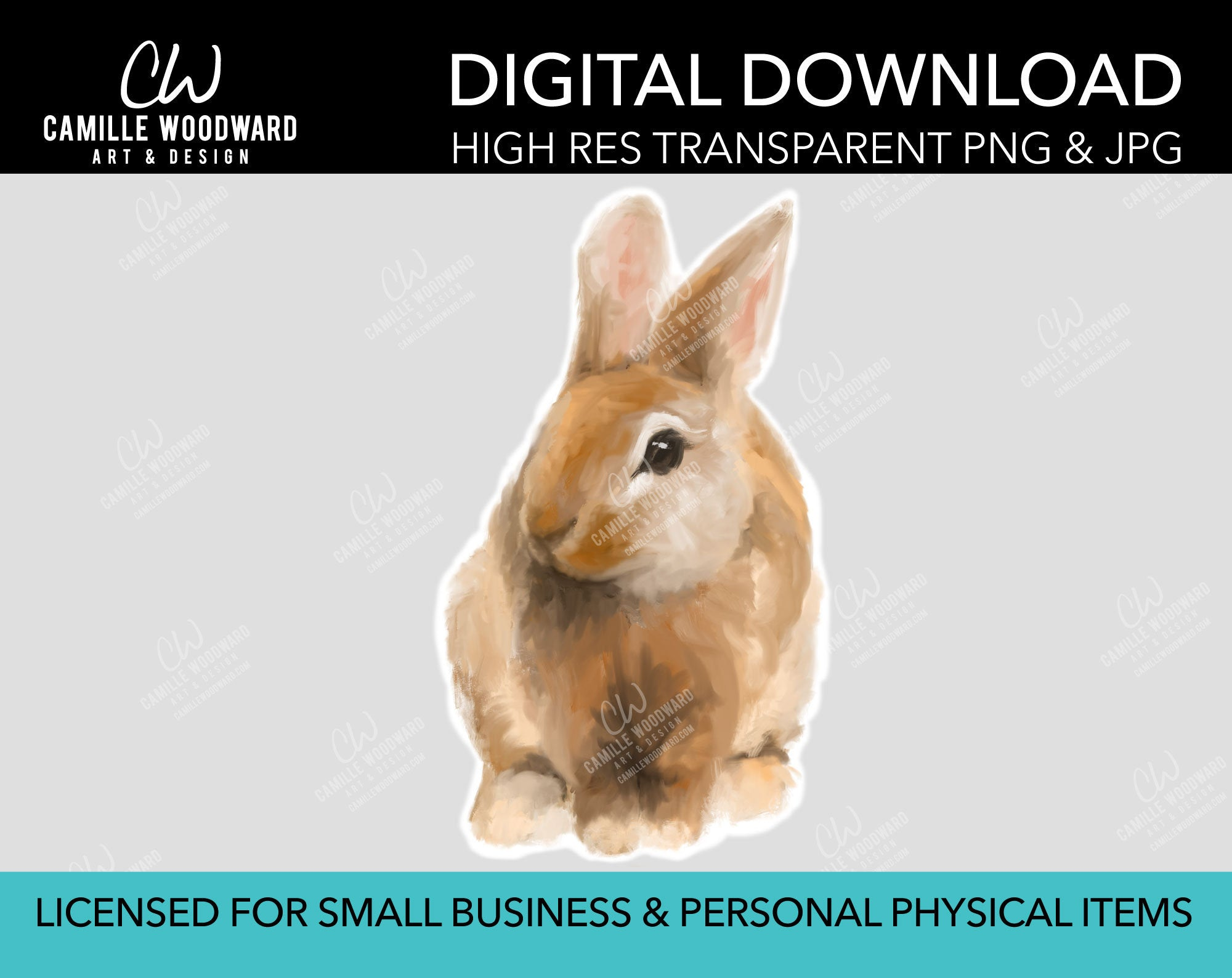 Bunny Rabbit PNG, Bunny Rabbit Transparent Isolated, Easter, Spring, Digital Painting - Digital Download Sublimation