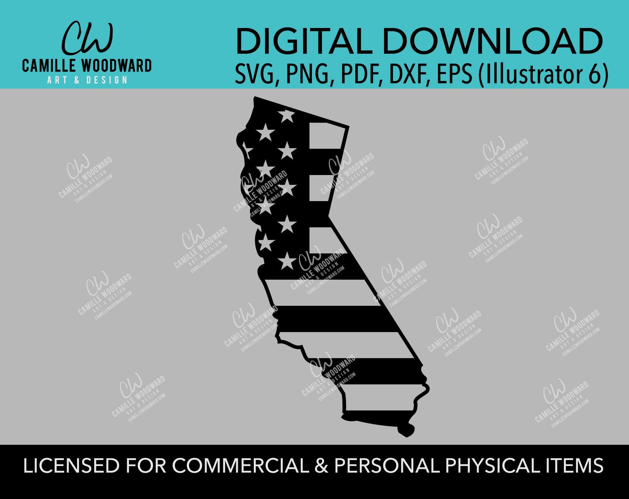 California American Flag SVG, United States Map, Cut File, png, pdf, eps, dxf - INSTANT Digital Download