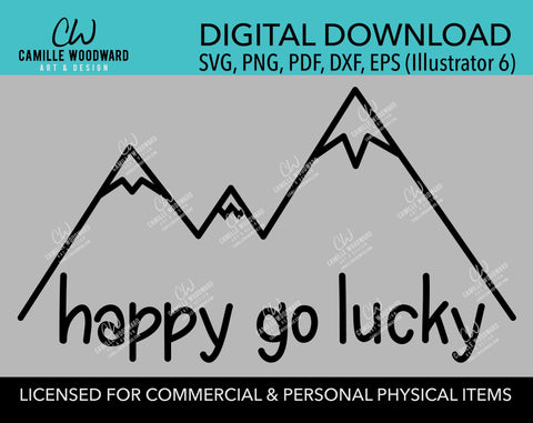 Mountains Happy Go Lucky SVG, Hiking, Camping, Outdoors, Black and White, PNG, eps, dxf, pdf - Transparent Sublimation Digital Download