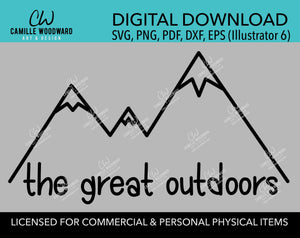 Mountains The Great Outdoors SVG, Hiking, Camping, Outdoors, Black and White, PNG, eps, dxf, pdf - Transparent Sublimation Digital Download
