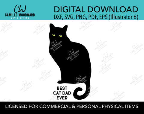 Best Cat Dad Ever SVG, Best Dad Ever, Black Cat, Cat Lover, Father's Day Cut File, Cricut, Iron On Decal - INSTANT Digital Download