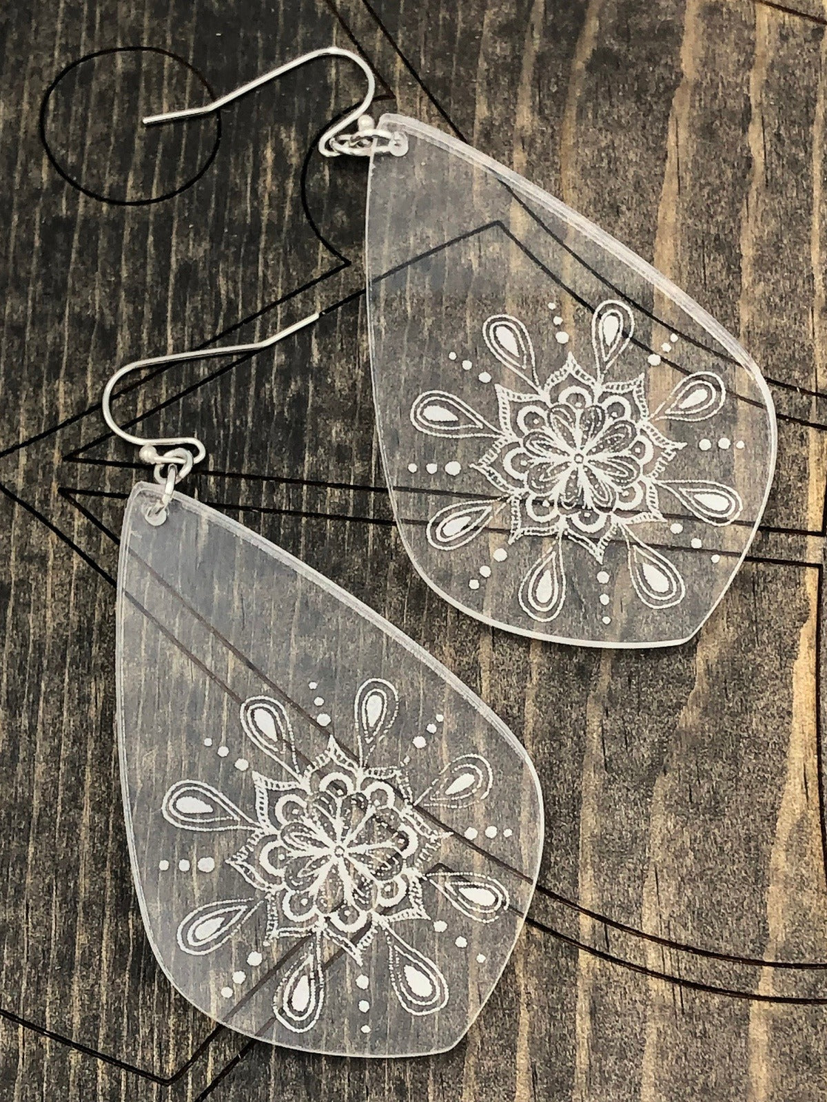 Mandala Engraved Earrings, Boho Jewelry, Engraved Mandala Acrylic Earrings, Women's Earrings, Teardrop Earrings, Rectangle Engraved