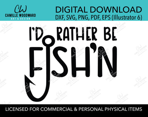 I'd Rather Be Fishing SVG, Fish'n, Gone Fishing, Black and White SVG - Digital Download Cricut Cut File