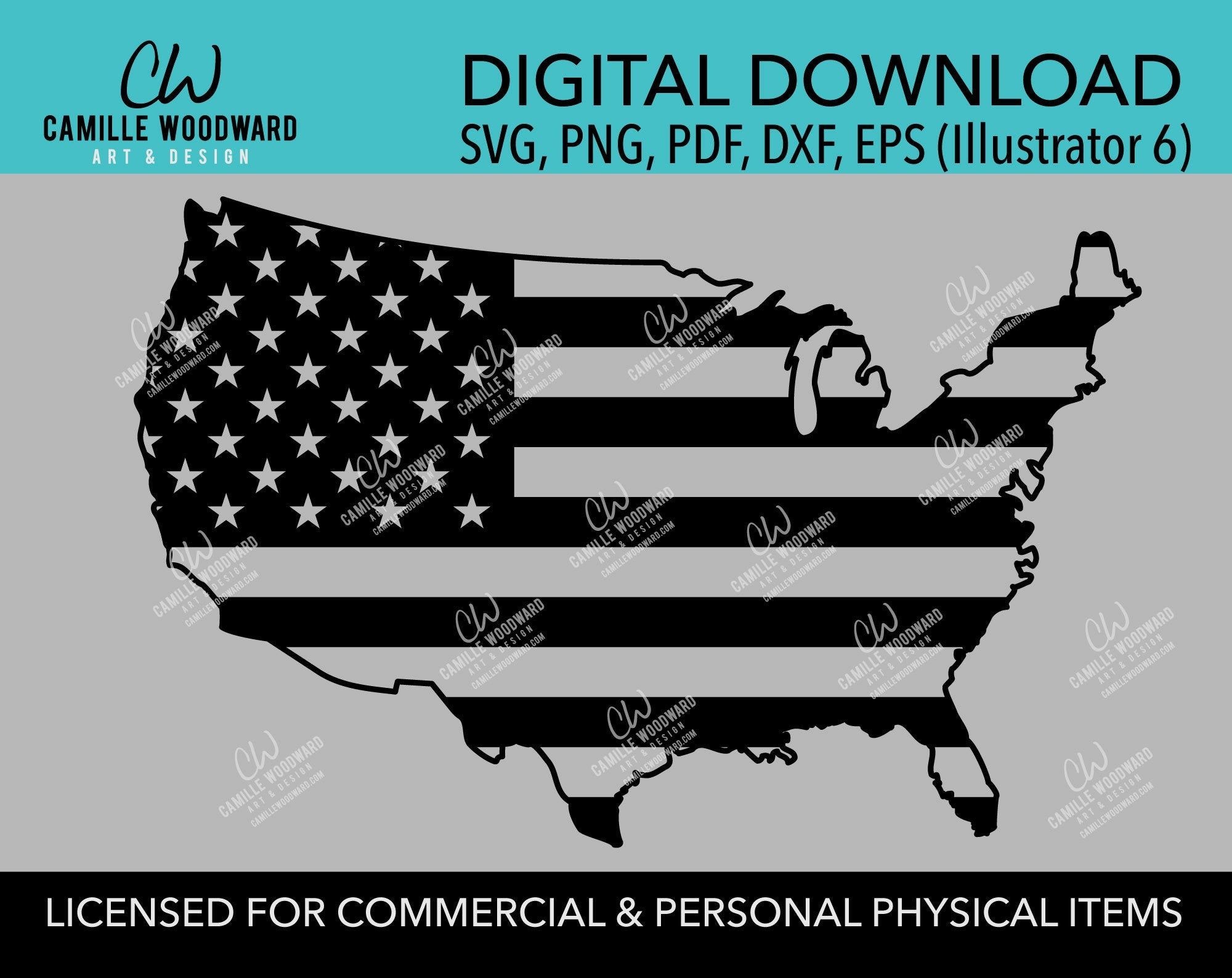American Flag SVG, United States Map, Cut File, png, pdf, eps, dxf - INSTANT Digital Download