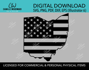 Ohio American Flag SVG, United States Map, Cut File, png, pdf, eps, dxf - INSTANT Digital Download