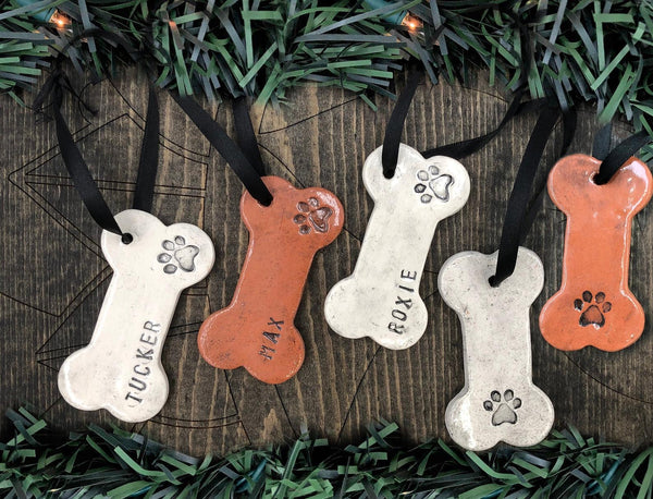 Personalized Dog Bone Handmade Ceramic Ornament, Custom Pottery, Black & White, New Pet Gift, Bereavement Memorial