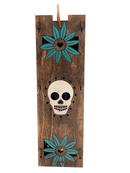 Wine Bottle Gift Box - Sugar Skull and Turquoise Heart Flower