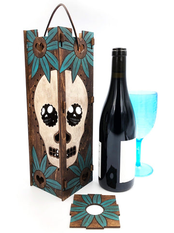 White Skull Turquoise Sunflower Wood Wine Gift Box