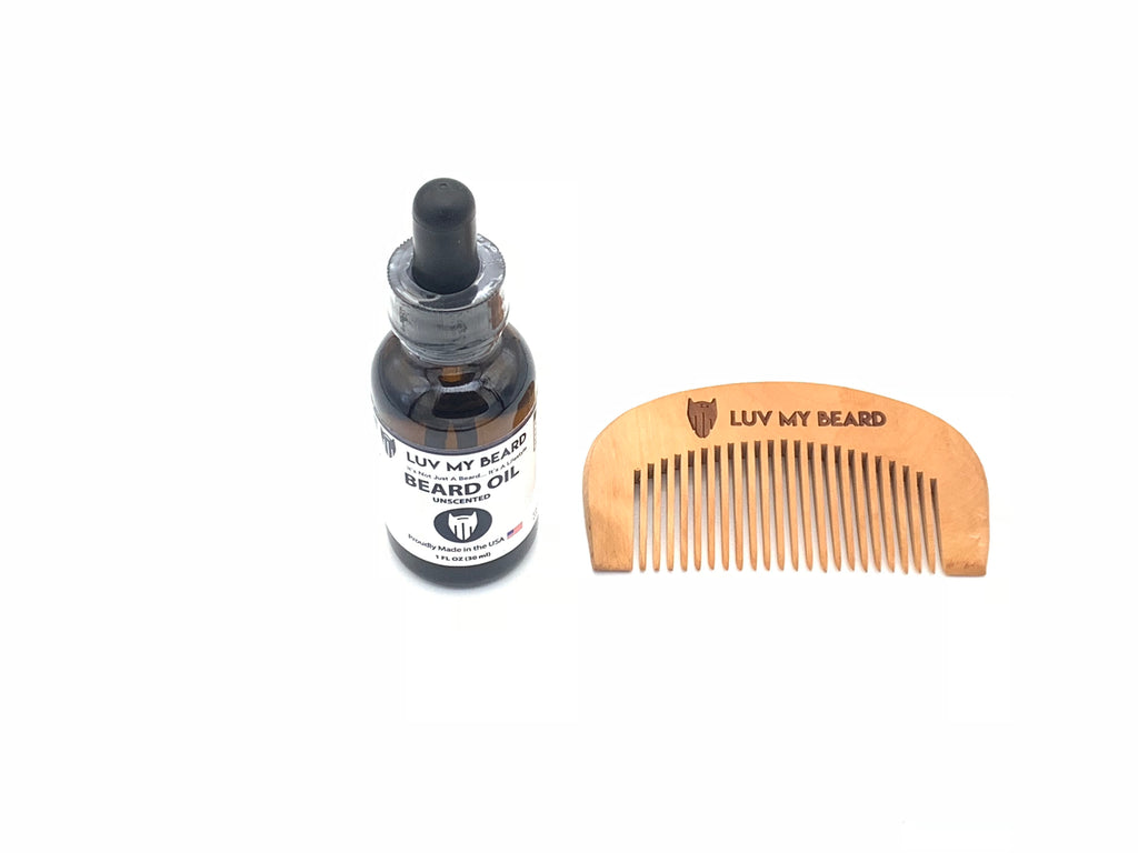 LMB All Natural Unscented Beard Oil - Comb Kit