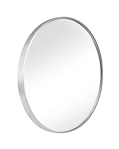 "SHIGAKEN 15.7"" Small Round Mirror, Brushed Metal Frame, Wall-Mounted Mirror, Wall Decor, for Bedroom, Bathroom, Living Room, Entryway, Aluminum Alloy -Black"