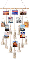 Mkono Hanging Photo Display Macrame Wall Hanging Pictures Organizer Boho Home Decor, with 30 Wood Clips