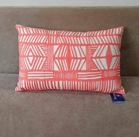 Aitliving Accent Pillowcase Decorative Tribal Design Lumbar Pillow Cover Throw Pillow Sham Bolero Geometric Boho Embroidered Cotton Canvas 1pc Coral Red 12x20inch 30x50cm