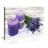 Wall Canvas Art for Living Room Purple Candles and Lavender Flower Painting Pictures Print on Canvas Prints Ready to Hang Wall Decor for Living Room Bedroom Decoration Modern Home Decor Artwork
