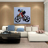 Oil Painting On Canvas,100% Hand Painted Running Speed Mountain Bike Riding Art,Modern Abstract Large Wall Decor Acrylic Painting Unframed Pictures Gift Living Room Home Bedroom Office Hotel Deco