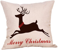 "Softxpp Merry Christmas Reindeer Moose Deer Throw Pillow Cover Rustic Country Farmhouse Style Winter Holiday Decor Cushion Case Decorative for Sofa Couch 18"" x 18"" Inch Cotton Linen"