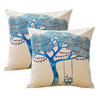 Sykting Decorative Pillow Covers 18x18 inch Patterned Square Pillow Cases Set of 5 Coushion Covers for Home Spring Decorations Colorful Cotton Linen