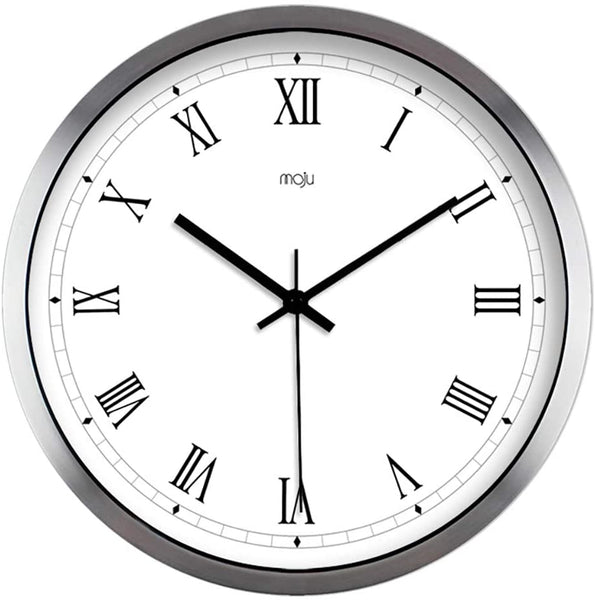 Bidesen Home Deco Living Room and Bedroom Mute Wall Clock 12 Inch Simple Roman Numerals (Color : Silver)