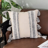 Sungea Decorative Linen Throw Pillow Cover, 18 x 18 Farmhouse Rustic Pillowcase Grey White Striped Tufted with Tassels Square Cushion Cover Boho Neutral Pillow Sham for Sofa Couch Bedroom Living Room