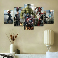 AtfArt 5 Piece Miracle Avenger Era Superhero Captain America Iron Man Hul Painting for Living Room Home Decor Canvas Art Wall Poster (No Frame) Unframed HB64 inch x30 inch