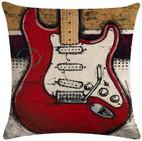 Only Lovuu Rock The Bass 6 Pack Colorful Bass Guitar Collection Linen Throw Pillow Covers 18 x 18 Decorative Couch Pillow Cases Sofa Cushion Covers Home Decor