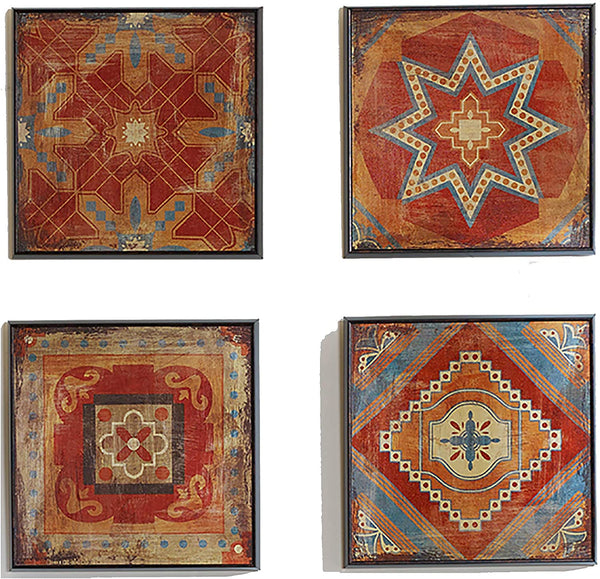 Madison Park Moroccan Tile Abstract Canvas Wall Art Bohemian Painting Home Décor, Abstract Stretched 4 Piece Set Canvas Painting for Living Room, Easy to Hang Deco Box Framed, Blue/Orange