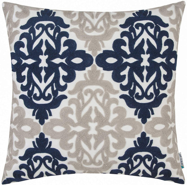 HWY 50 Navy Blue Decorative Embroidered Throw Pillow Covers Cushion Cases for Couch Sofa Bed 18 x 18 inch Accent Floral Geometric 1 Piece