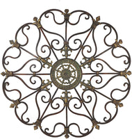Vintage Style Round Copper Metal Wall Decor w/ Fleur de Lis Accents, Copper and Gold Metal Wall Art, Fleur de Lis and Quatrefoil 3D Wall Art, 29""