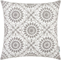 HWY 50 Grey Embroidered Decorative Throw Pillow Covers Cushion Cases for Couch Sofa Living Room Gray Farmhouse Accent 18 x 18 inch Little Sunflower Floral 1 Piece