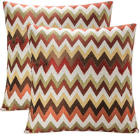 YUKORE Pack of 2 SimpleDecor Jacquard Chevron Pattern Cushion Covers Decorative Pillowcases Multicolor 18X18 Inch Multicolor