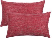"Set of 2,Solid Lumbar Linen Throw Pillow Covers 12"" x 20"" (No Insert),Decorative Thick Accent Lined Pillow Case Shams with Hidden Zipper,Soft Farmhouse Cushion Covers for Couch/Sofa/Bedroom,Chili Red"