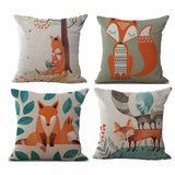 4PC  Cartoon Fox Cushion Cushion Decorative Beige Linen Pillow For Living Room Bed Room Decoration#G6