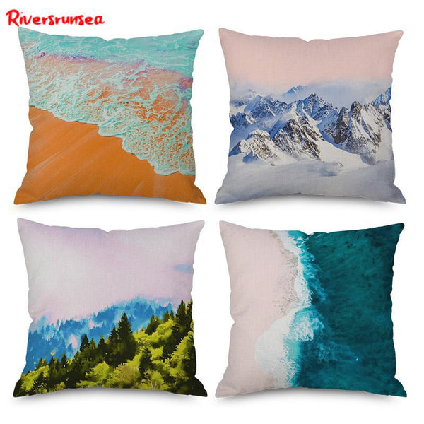 Hand Painted Nordic Geometric Landscape Cushion Watercolor Alpine Mountaion Forest Tree Beach Decorative Pillow For Living Room