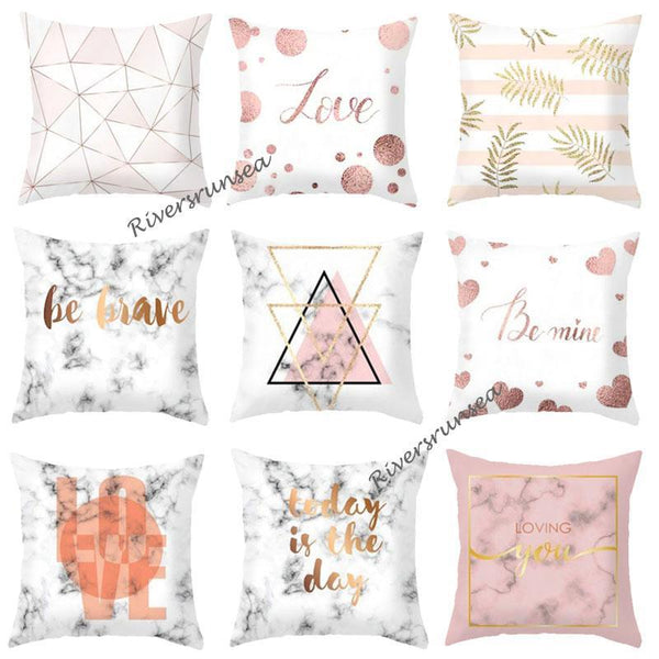 Modern Minimalist Decor Marble Pillow Rose Gold Leaf Love Geometric Pattern Nordic Style Cushions Home Decor For Living Room