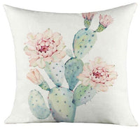 Hand Painted Small Fresh Green Leaf Cushion Tropical Plant Cactus Flower Dog Geometric Modern Sofa Pillow For Living Room Chair