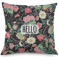 European Style Pastoral Flower Cushion Garden Plant Bouquet Green Leaf Watercolor Printed Sofa Pillow For Home Living Room Decor