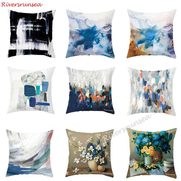 Hand Painted Color Graffiti Geometric Cushion Watercolor Flower Bird Printed Plush Chair Pillow For Creative Sofa Living Room