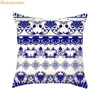 2019 Blue Geometric Pattern Printing Cushion Chinese Blue And White Porcelain Decorative Pillows Sofa Car Home And Living Room