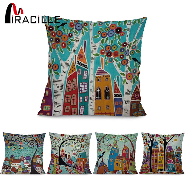 "Miracille Square 18"" Abstract Building and Tree Printed Cartoon Sofa Throw Cushions Living Room Decorative Pillows No Filling"