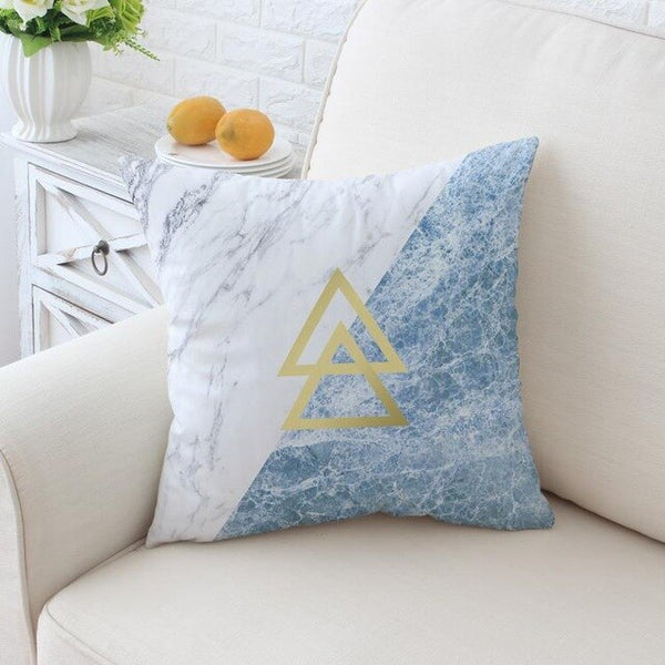 Marble Geometric Blue Cushion Decorative Soft White Marbling Print Modern Office Sofa Decor Modern Living Room Pillow Home Deco