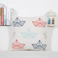 Mediterranean Blue Sea Anchor Geometric Sailing Fish Boat  Soft Plush Throw Pillows Kids Cushion Love For Living Room Decoration