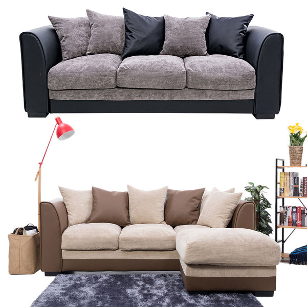 Fast Delivery Panana Living Room Sofa Set / Modern Sofas Loveseats / 3 Seater with Ottmans Free Pillows Fabric and PU Leather