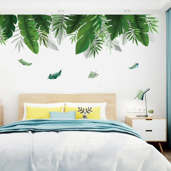 Fresh Greenery Leaves Plant Wall Sticker Living Room Bedroom Decal Decor Charm