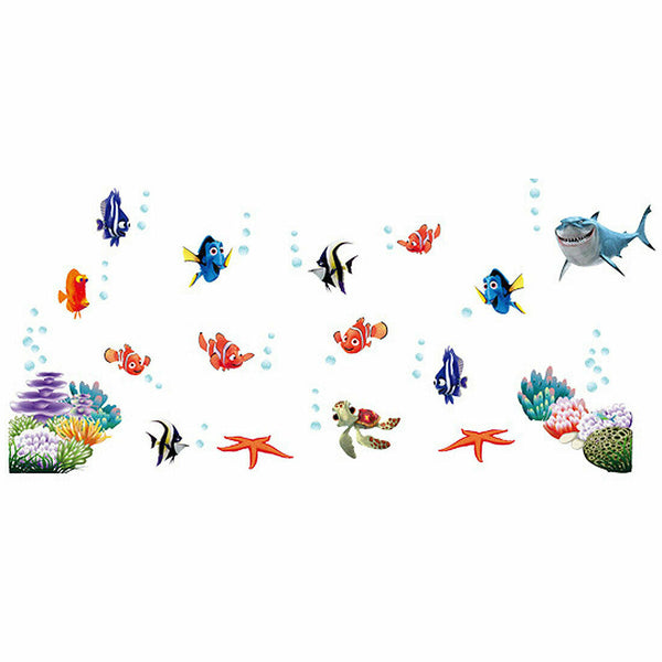 Living Room Art Decor PVC Fish Starfish Pattern Wall Sticker Decal Mural