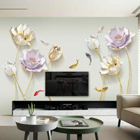 Wall Stickers Flower 3D Wallpaper Living Room Bedroom Bathroom Home Decor Poster