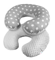 LUXURY BABY BEDDING SET PILLOW CASE DUVET COVER BUMPER DOTS GREY TO FIT 120X60