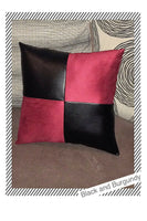 Accent Decorative leather pillow black suede Fabric case cushion throw cover