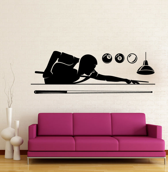 Wall Vinyl Decal Decor Game Institution Billiards Player Cue Balls z4806