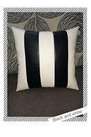 Accent Decorative leather pillow black white stripes throw case cushion cover
